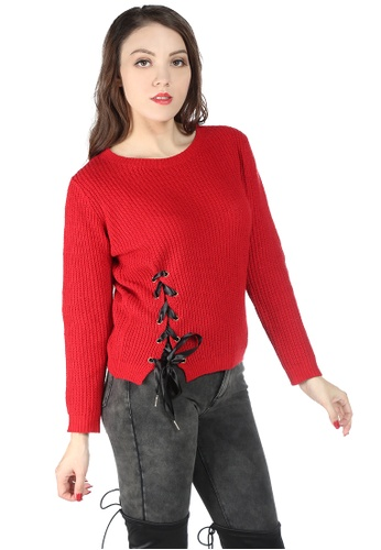 London Rag red Red Long Sleeve Knit Sweater with Eyelet and Draw String CD9D7AA611F557GS_1