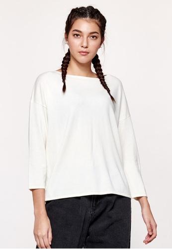 United Colors of Benetton 白色 素色針織上衣 378F9AA2F87520GS_1