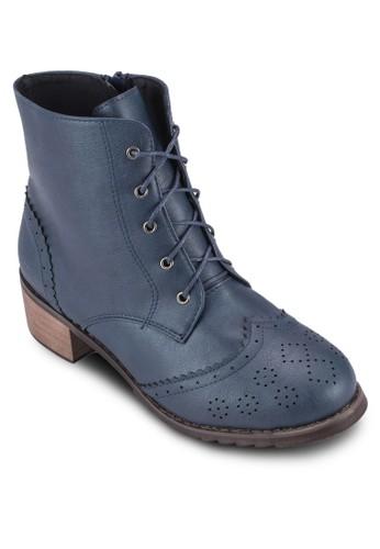 沖孔雕花繫帶短靴, 女鞋,zalora鞋 鞋