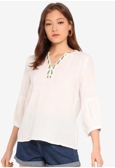 b2205f4b9b2d3d ESPRIT white 3/4 Sleeve Woven Blouse FE23CAAE99B90BGS_1