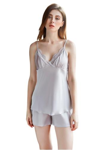 LYCKA grey LCB2140-Lady Casual Pajamas Two Pieces Set-Grey 9B301USB2E311DGS_1