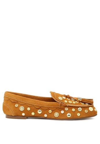 RAG & CO brown Handcrafted Metallic Studded Leather Loafers with Tassel RCSH1672 0BDF5SH09CB605GS_1