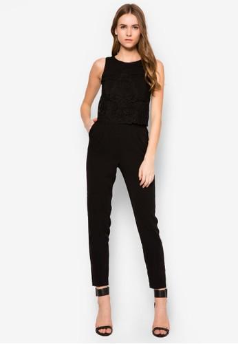 蕾zalora 包包 ptt絲拼接連身長褲, 服飾, 連身褲