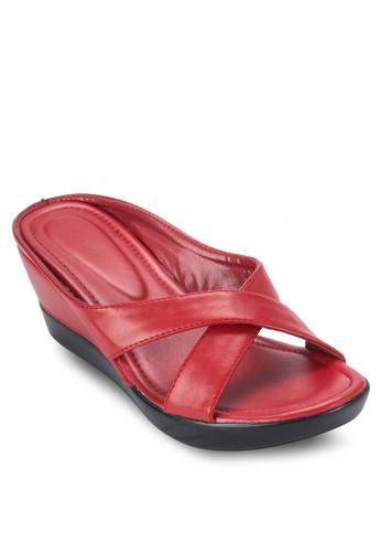 交叉帶楔型跟涼鞋, 女esprit專櫃鞋, 鞋