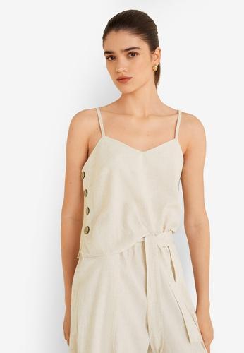 MANGO beige Buttons Cotton Top EBDFDAA6B3424EGS_1