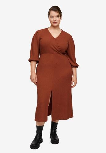 Violeta by MANGO orange Plus Size Textured Midi Dress EC1FAAA4489395GS_1
