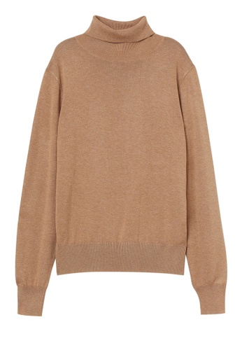 H&M brown Fine-knit Polo-neck Jumper D4C18AAAA5C042GS_1