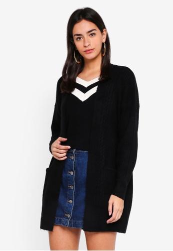 Miss Selfridge black Black Cable Longline Knitted Cardigan 0E47AAA5691275GS_1