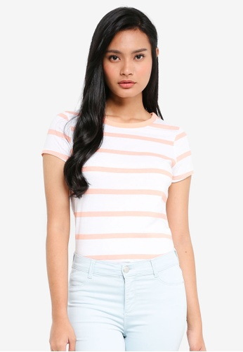 Dorothy Perkins pink Ivory/Coral Stripe T-Shirt B09FEAA9B1A579GS_1