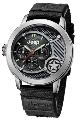 Jeep Wrangler Series JPW61801 Multifunction Watch Silver Black Nylon Canvas