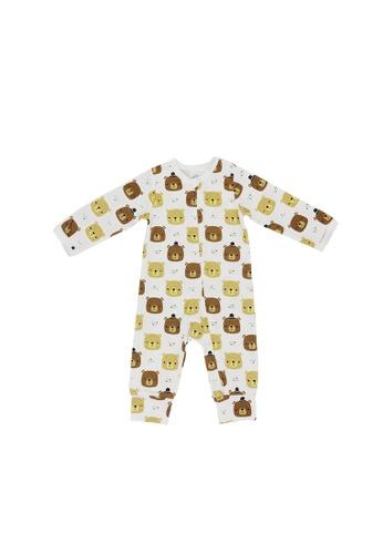 Baby Lovett white Bear Hugs Two-Way Zipper Suit BE367KA614F962GS_1