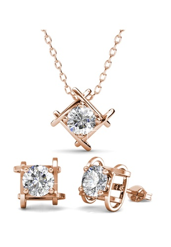 Her Jewellery gold Roxy Set (Rose Gold) with Premium Grade Crystals from Austria HE581AC0RAJLMY_1