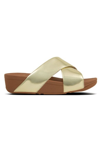 545e8b1eb6a2dc FitFlop gold Fitflop Lulu Mirror Cross Slide Sandals (Gold Mirror)  D65C5SH8F5CA6FGS 1