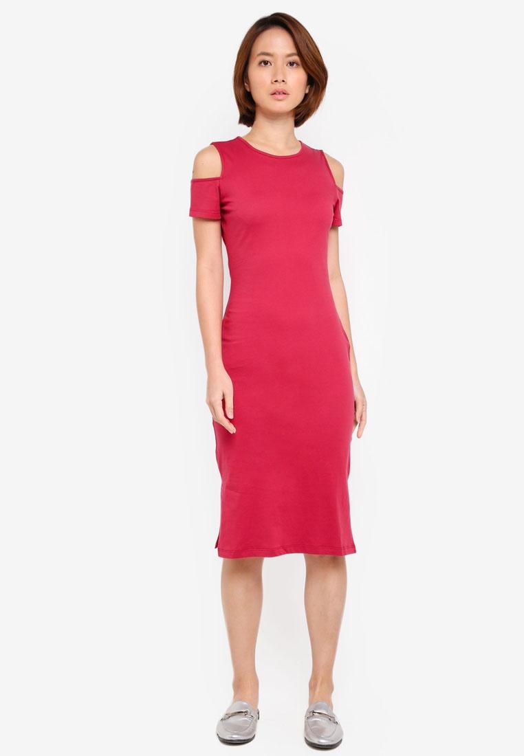 BASICS ZALORA Cold Bodycon Jersey Shoulder Dress Burgundy aXa4ZHAw