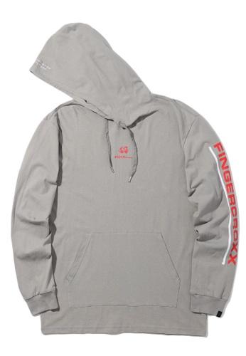 Fingercroxx grey Logo print hoodie 9253DAA0EF2FB4GS_1