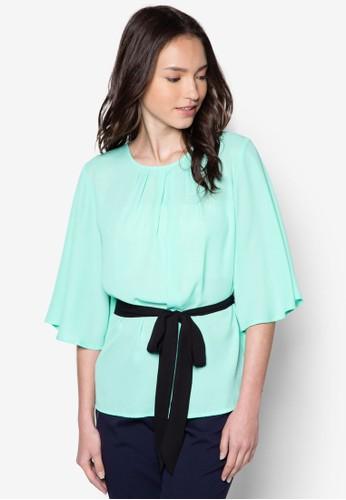 Tabitha 七分袖腰帶上衣, 服飾,esprit 折扣 服飾