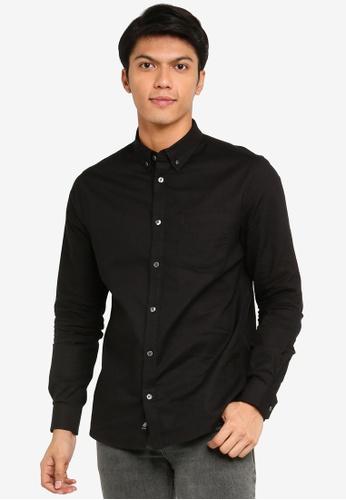 Burton Menswear London black Black Long Sleeve Oxford Shirt 2A3B7AA78E83B1GS_1