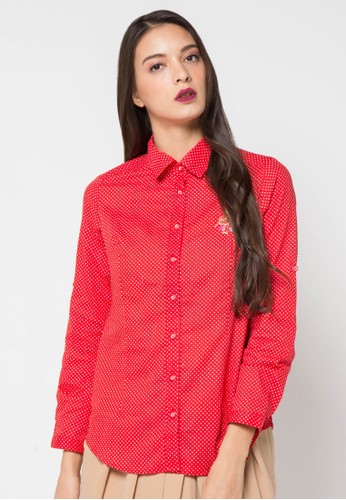 novel.mice red Dot Cotton Shirt NO510AA72WYTID_1
