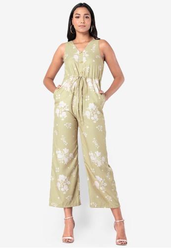 FabAlley 綠色 橄欖綠 花卉抽繩 連身褲 B0A5EAAC28F3CFGS_1