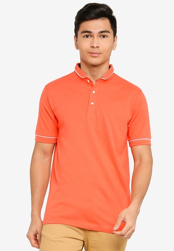 UniqTee orange White Trim Polo Shirt 66E42AA9DD0956GS_1
