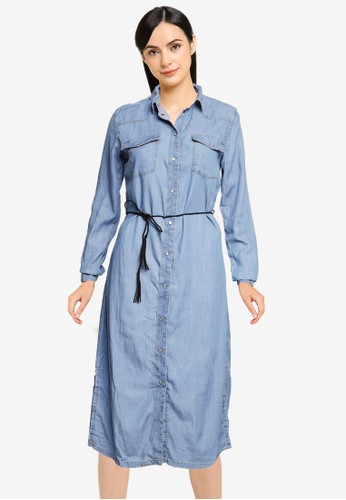 Springfield blue Tencel Cotton Denim Shirt Dress B7928AA1593E6CGS_1