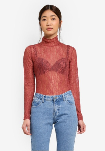 Stylenanda red Lace Long Sleeve Top 3683EAA8FDBEDDGS_1
