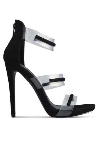 MISSGUIDED black Floating 3 Strap Sandals 608DASHDB34334GS_1