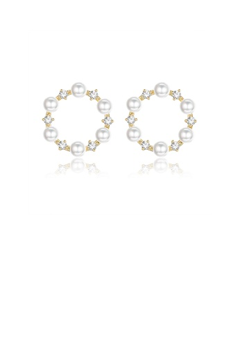 Glamorousky white Simple and Elegant Plated Gold Geometric Round Imitation Pearl Earrings with Cubic Zirconia 62351ACEB48563GS_1