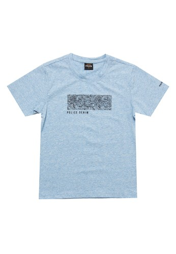 Police Denim blue Emboss Design Cotton Spandex Fashion Tee Kids 44FB0KA57B90ADGS_1