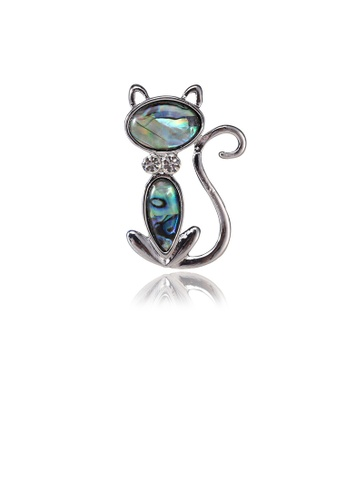Glamorousky white Fashion Cute Cat Blue Shell Brooch with Cubic Zirconia 4E139AC69AFC5CGS_1