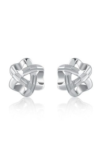 MaBelle silver 14K 585 White Gold Diamond Cut Love Knot Stud Earrings FE549ACDA1130FGS_1