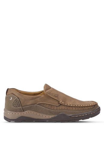 Louis Cuppers brown Stitch Detail Loafers LO977SH16AXRMY_1