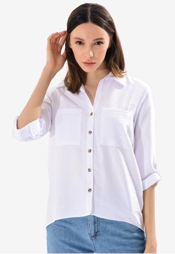 LC Waikiki white Straight Long Sleeves Dobby Women's Shirt D4FCFAAF2B676EGS_1