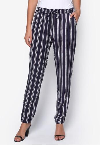 條紋束口zalora時尚購物網的koumi koumi休閒長褲, 服飾, 長褲及內搭褲