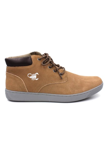 midzone brown Suede Leather High Cut Sneaker MI949SH49OASMY_1