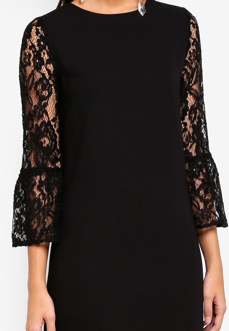 Black Dress Lace Flare Sleeves ZALORA 60X8I