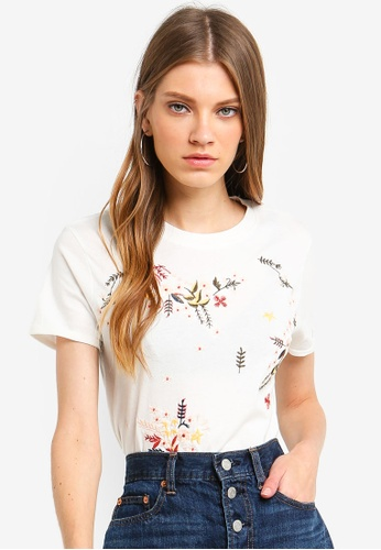 Brave Soul white T-Shirt With Embroidery On The Front 18E95AAC9049E5GS_1