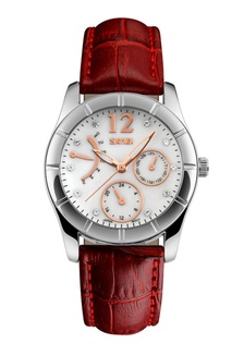 SKMEI 6911 Ladies's Fashion Elegant Quartz Leather Strap Watch (Red) SK707AC0RXDOMY_1