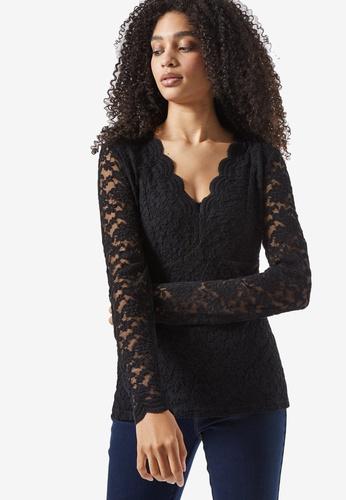 Dorothy Perkins black Black Long Sleeve Lace Top C1767AA972CC08GS_1