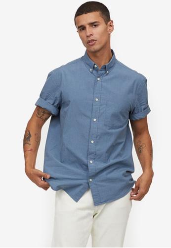 H&M blue Regular Fit Cotton Shirt 72273AA7649CA0GS_1