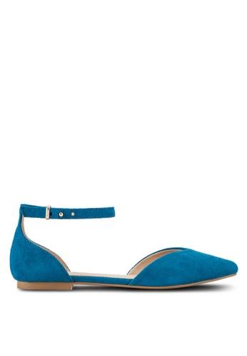 ZALORA 藍色 尖頭繞踝平底鞋 FFD5ESH141F424GS_1