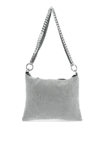 TOPSHOP silver Diamante Chain Shoulder Bag TO412AC0S4I3MY_1