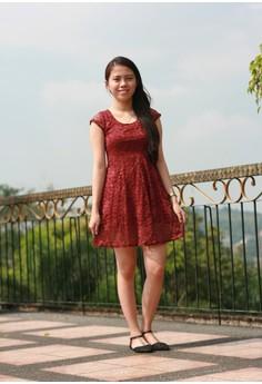 Monisha Lace Maroon Dress