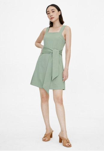 Pomelo green Mini Square Neck Tied Waist Dress - Green 8ED68AAFF734A9GS_1