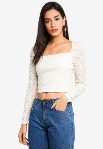 MISSGUIDED white Puff Sleeve Milk Maid Lace Crop Top 08145AABA20302GS 1 d6a1aabf6