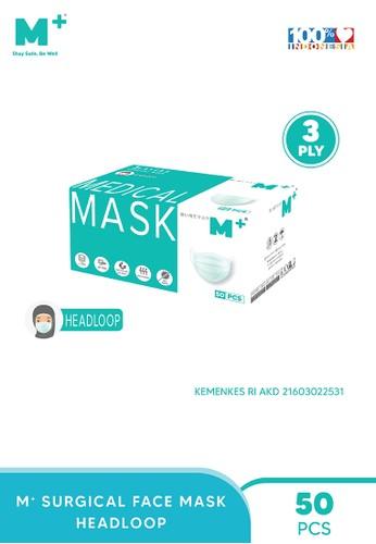 M+ green Masker Medis Surgical Mask Headloop M+ 3 Ply - Masker Medis Isi 50 Pcs 68472ES09FD7AAGS_1