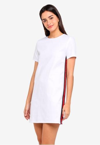ZALORA white Shift Dress With Side Stripe E516FAAA5E0E30GS_1