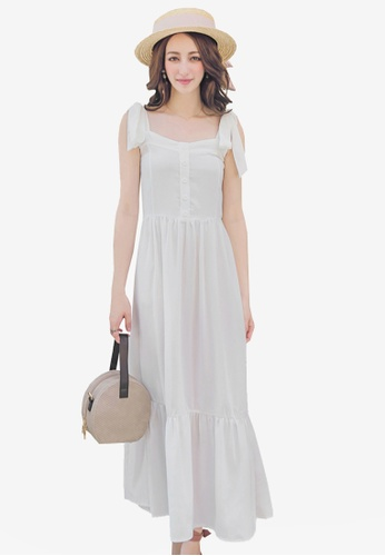 Yoco white Tie Strap Mermaid Maxi Dress E0ECBAA7E4C7CBGS_1
