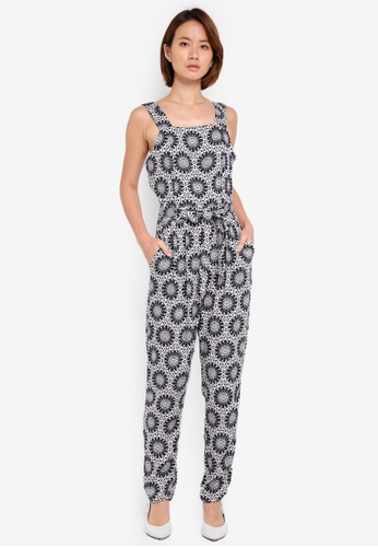 Dorothy Perkins black Tile Print Jumpsuit 2B27EAA05B1CD3GS_1