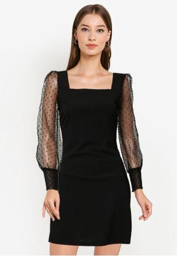 ZALORA OCCASION black Sheer Puff Sleeve Mini Dress DFF51AAFE28EF5GS_1